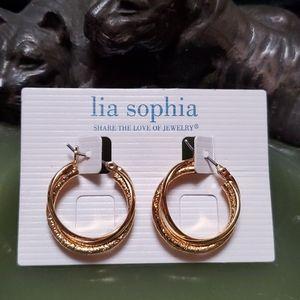 🦕3/$10 Lia Sophia Classic Gold Tone Hoops